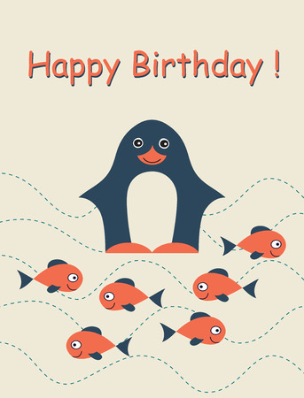 Happy birthday card with penguin and fish. Childish background. Holiday design. Vector illustration. Vector