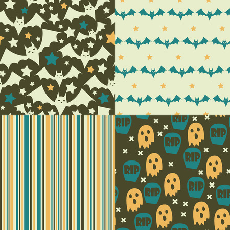 Sat of Halloween seamless patterns. Childish background. Holiday design. Vector illustration. Vector
