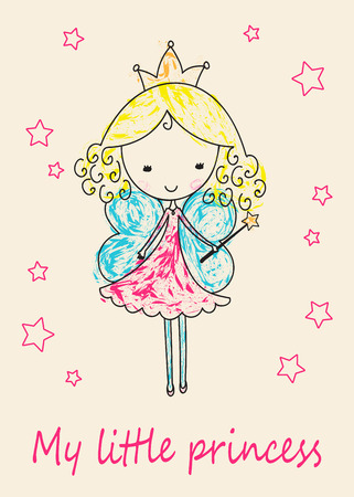 fairy tale princess: Hand-Drawn Sketchy Fairy Tale Princess greeting card.