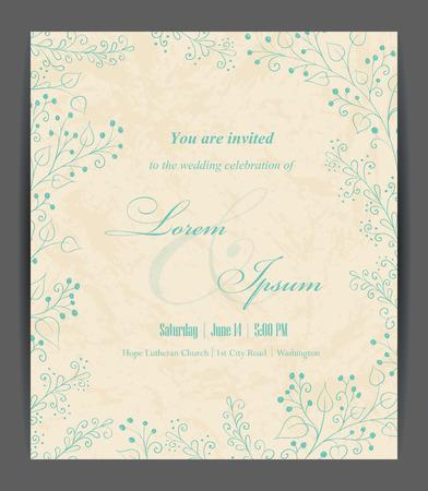 c�r�monie mariage: Mariage carton d'invitation d'�l�ments floraux. Vintage background. Vector illustration.