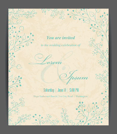 wedding invitation: Wedding invitation card with floral elements. Vintage background. Vector illustration.
