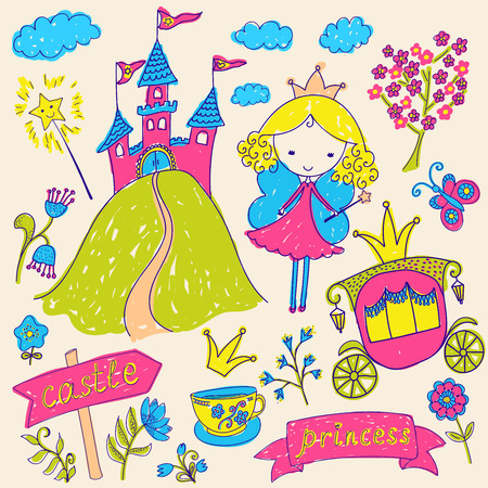 fairy tale princess: Hand-drawn sketchy fairy tale princess doodle design elements set. Vector illustration.