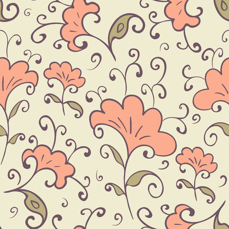 Cute floral seamless pattern. Vintage style. Vector illustration.