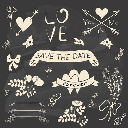 wedding celebration: Wedding romantic collection with floral decorations, ribbons, arrows and hearts. Hand drawing vintage set on chalkboard background. Vector illustration.