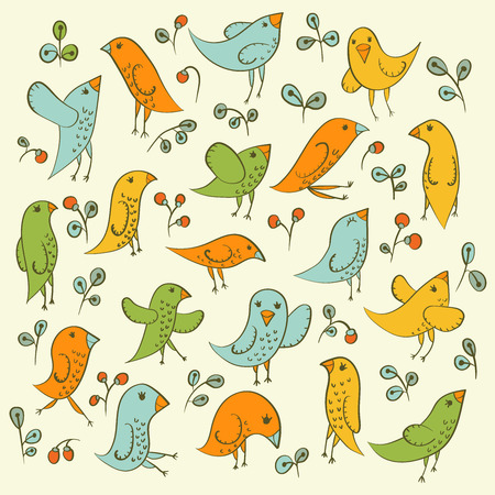 Set of cute birds for your design. Vector illustration. Vector