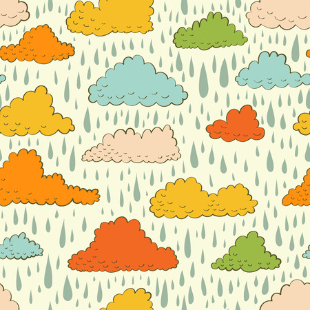 Seamless pattern with color clouds and rain. Vector illustration. Vector