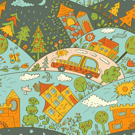 Seamless pattern with colored houses, car and trees. Vector illustration Vector