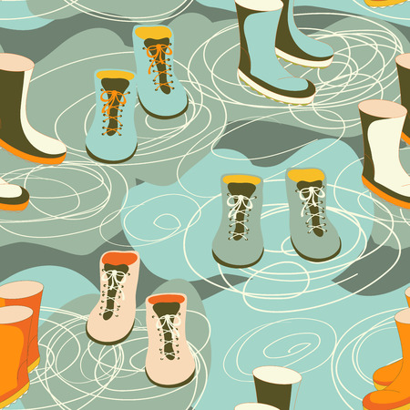 Rain boots in a puddle. Seamless pattern. Vector illustration.