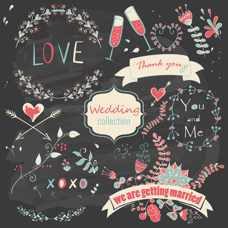 Wedding romantic collection with floral decorations, ribbons, arrows and hearts. Hand drawing vintage set on chalkboard background. Vector illustration.
