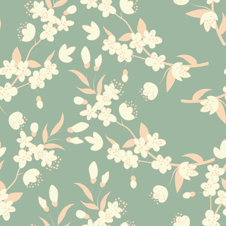 Seamless floral background with colorful tree flowers. Vector illustration.