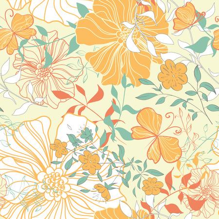 Seamless pattern with floral elements. Vintage background. Vector illustration. Illusztráció