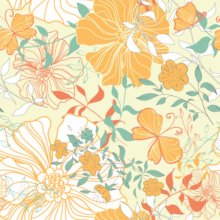 Seamless pattern with floral elements. Vintage background. Vector illustration. Vector