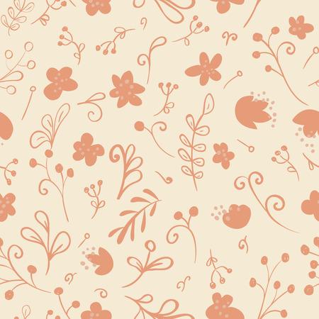 Seamless pattern with floral elements. Vintage background. Vector illustration. Illustration