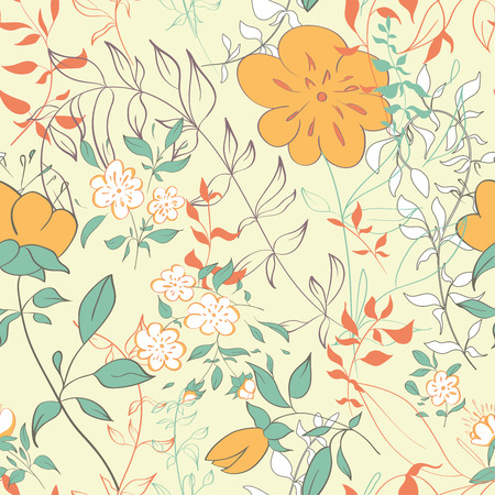 Seamless pattern with floral elements. Vintage background. Vector illustration. Stock Vector - 33992315