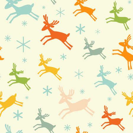 Seamless pattern with deers and snowflakes.  Holiday design. Merry Christmas card design. Winter. Vector illustration.