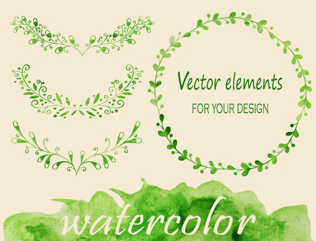 Hand sketched vintage floral elements for your design. Set of watercolor laurels and wreaths. Vector illustration.