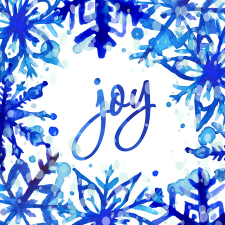 Winter holiday Greeting card. Hand drawn watercolor snowflakes and splashes. Vector illustration. Vector