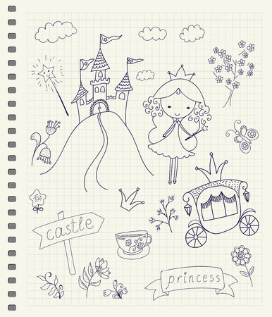 Hand drawn fairy tale princess doodle design elements set on checkered notebook page background. Vector illustration.