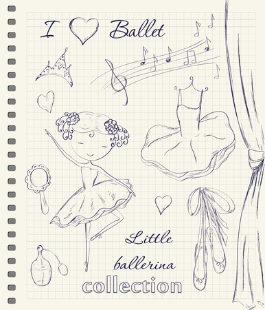 Hand drawn ballerina and accessories doodle design elements set on checkered notebook page background. Vector illustration.