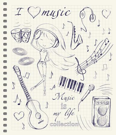papel de notas: Dibujado a mano de la muchacha y de la m�sica accesorios doodle de elementos de dise�o conjunto de cuadros p�gina de cuaderno de antecedentes. Ilustraci�n del vector.