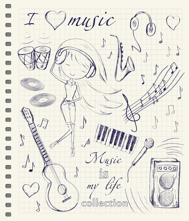 notes paper: Hand drawn girl and music accessories doodle design elements set on checkered notebook page background. Vector illustration.