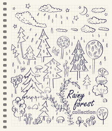 Hand drawn rainy forest doodle design elements set on checkered notebook page background. Vector illustration. Vector
