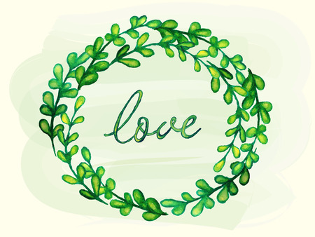 illustratin: Watercolor frame made of hand drawn leaves and love lettering. Hand paint wreath for Greeting card or Invitation. Vector illustratin.