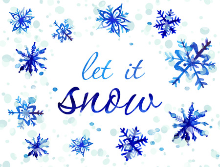 let it snow: Let It Snow Christmas card. Hand drawn vector watercolor snowflakes and splashes.  Winter holiday design.