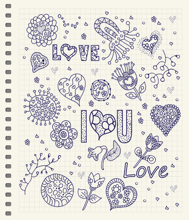 Love lettering. Vector hand drawn floral card with vintage flowers on checkered notebook page background. Happy Valentine Illustration
