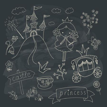 fairy tale princess: Hand drawn fairy tale princess doodle design elements set on chalkboard background.