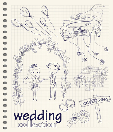 bride bouquet: Wedding hand drawn doodle collection for wedding ceremony organizer.  Illustration