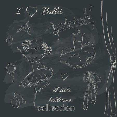 손으로 그려진 된 발레리 나 액세서리 낙서 디자인 요소는 칠판 배경에 설정합니다. 일러스트