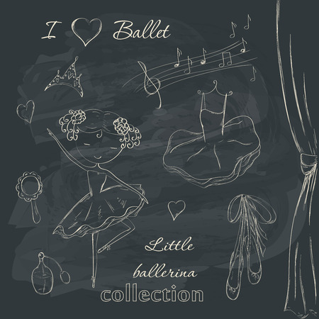 Hand drawn ballerina and accessories doodle design elements set on chalkboard background.