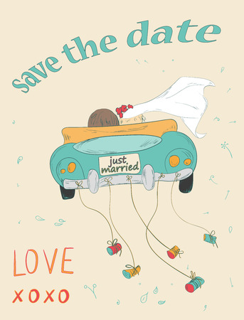 Just married couple in retro car dragging cans. Wedding card design. Hand drawn vintage save the date card. Vector illustration.