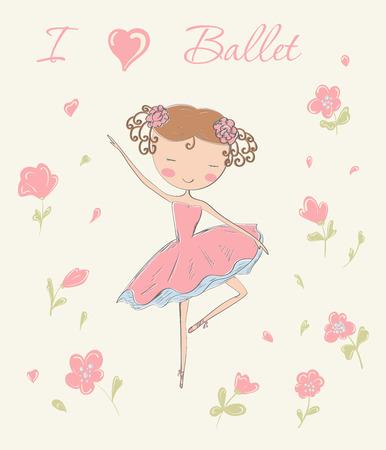 zapatos escolares: Mano dibujado bailarina bailando con flores. Me encanta tarjeta de ballet. Ilustración del vector.