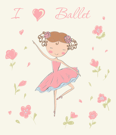 Hand drawn ballerina dancing with flowers. I love ballet card. Vector illustration.