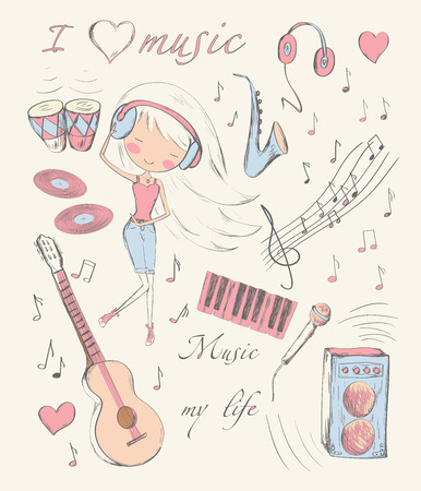 Hand drawn girl and music accessories doodle design elements set. Vector illustration. Vector