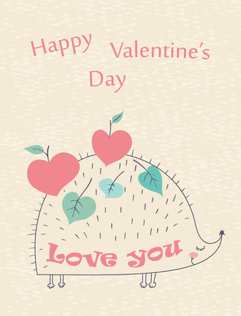 Happy Valentines Day  hand drawn card with hedgehog and apples. Vector illustration.