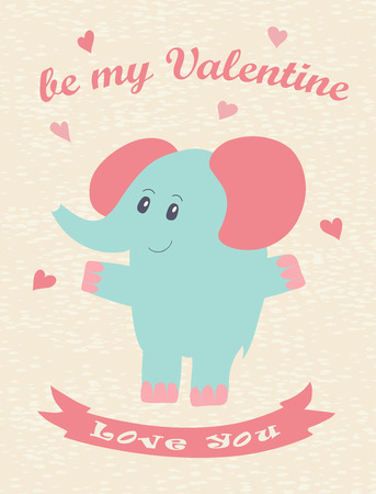 amore: Happy Valentines Day card with hand drawn elephant. Vector illustration.