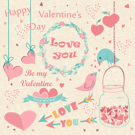 Happy Valentines Day  hand drawn card. Set of romantic Valentines Day and wedding simbols, birds and wreaths. Vector illustration. Vector