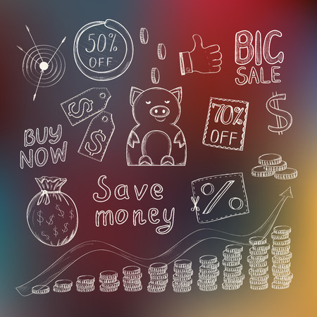 Save money concept with hand drawn doodle icons, pink piggy bank, sale coupons and golden coins on defocused colored background. Vector illustration.