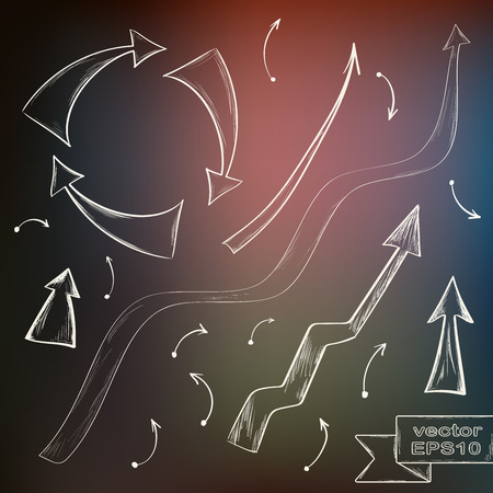 top pointer: Set of hand drawn arrows on defocused colored background. Vector illustration.