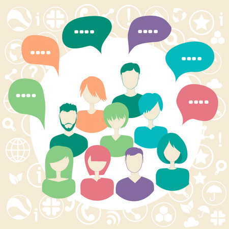 Social media network connection concept with group of people surrounded by social icons. Vector illustration.