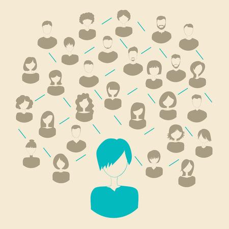 社会的なメディア ネットワーク接続 conceptю ベクトル イラスト。  イラスト・ベクター素材
