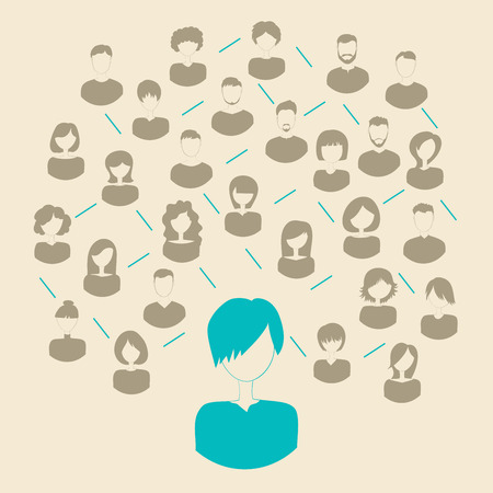 Social media network connection conceptÑŽ Vector illustration.