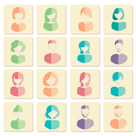 ソーシャル ネットワークの私用ユーザーのアバター。男性と女性のアバター フラット アイコン。ベクトルの図。
