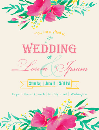 Wedding invitation. Hand drawn vintage floral elements. Watercolor flower composition. Vector illustration. Vector