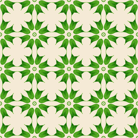 Seamless pattern with green floral elements. Vintage background. Vector illustration.