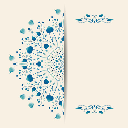 lace vector: Card with floral ornamental round lace. Vector illustration.