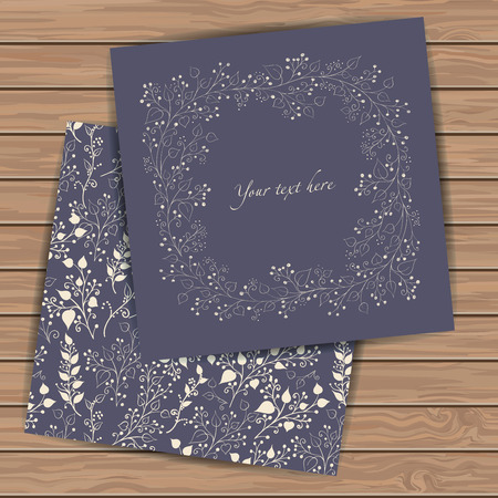 Wedding invitation cards with floral elements  on wood plank background. Place for your text. Use for invitations, announcement cards.. Vector illustration.